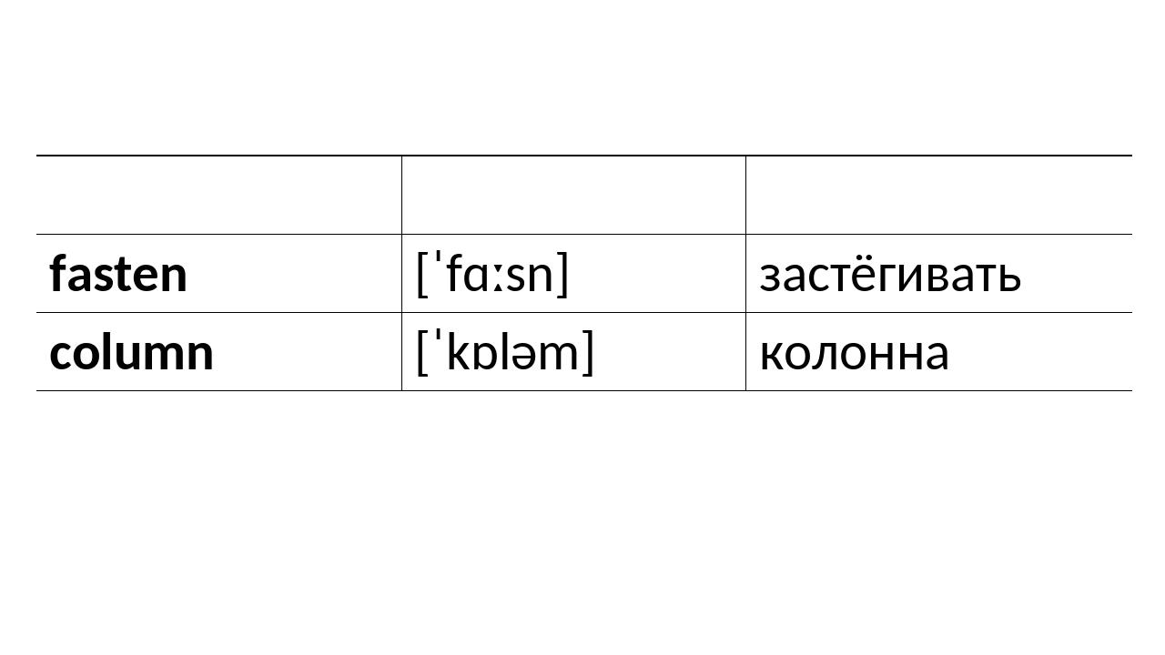 whistle [ˈwɪsl] свистеть fasten [ˈfɑːsn] застёгивать column [ˈkɒləm] колонна