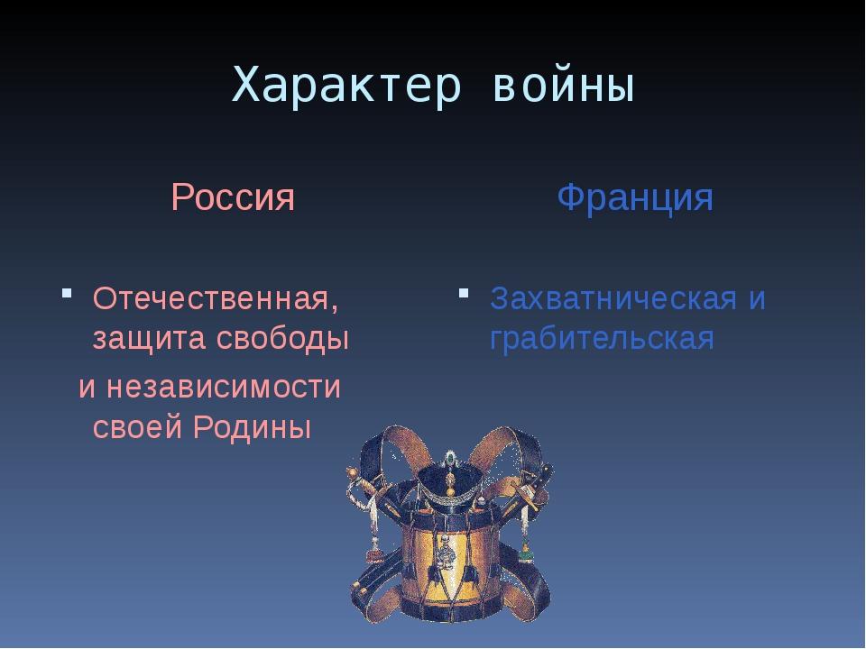 Характер войны Россия Отечественная, защита свободы и независимости своей Род...