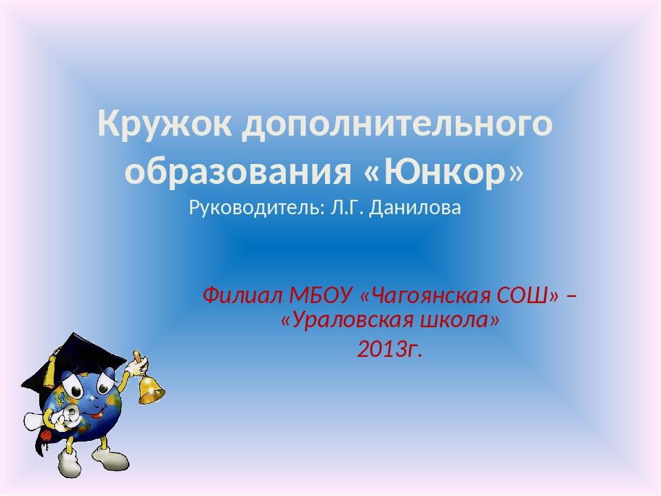 Кружок дополнительного образования «Юнкор» Руководитель: Л.Г. Данилова Филиал...