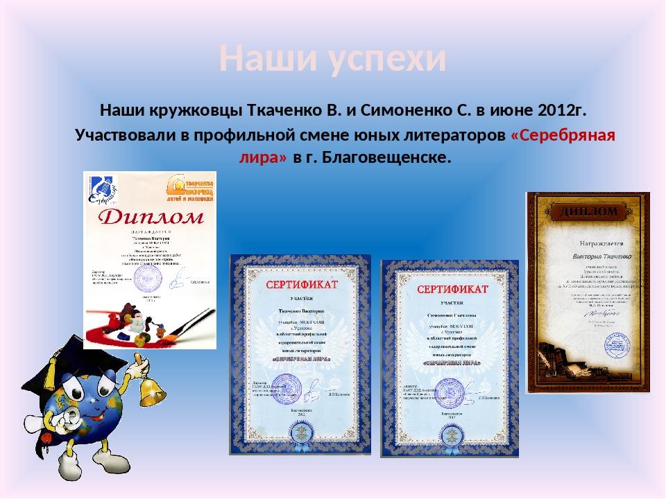 Наши успехи Наши кружковцы Ткаченко В. и Симоненко С. в июне 2012г. Участвова...