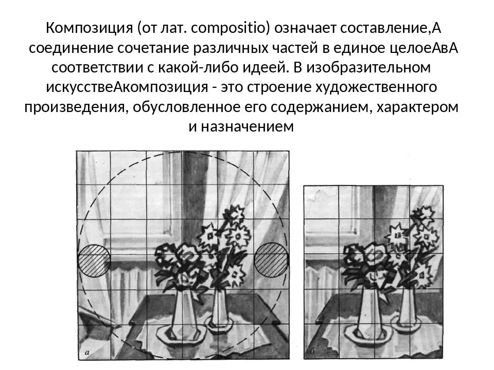 Композиция (от лат. compositio) означает составление, соединение сочетание р...