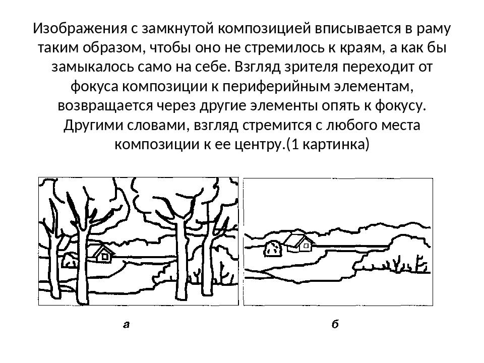 Изображения с замкнутой композицией вписывается в раму таким образом, чтобы о...