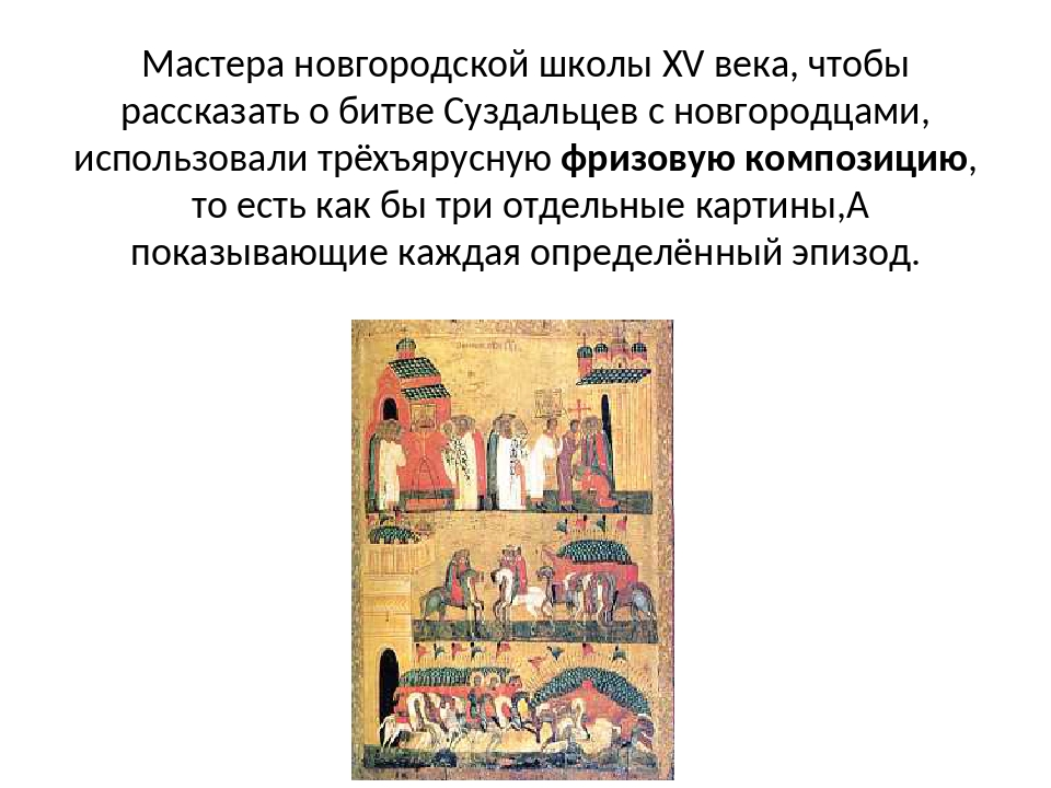 Мастера новгородской школы XV века, чтобы рассказать о битве Суздальцев с нов...