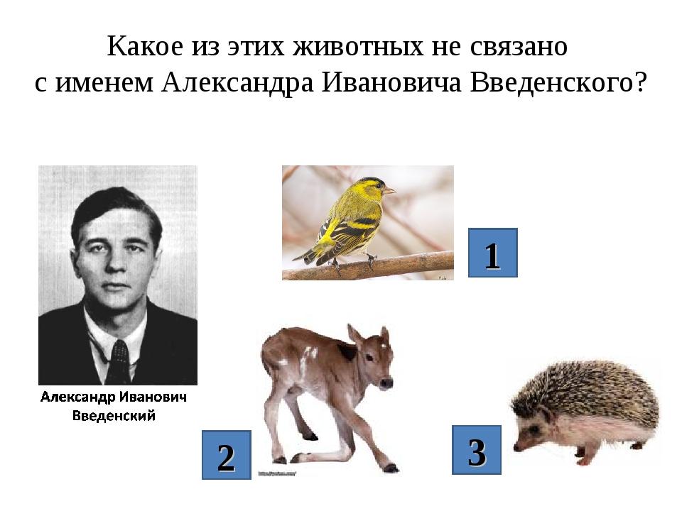 Какое из этих животных не связано с именем Александра Ивановича Введенского?...