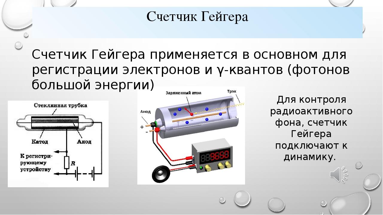 Счетчик Гейгера Счетчик Гейгера применяется в основном для регистрации электр...