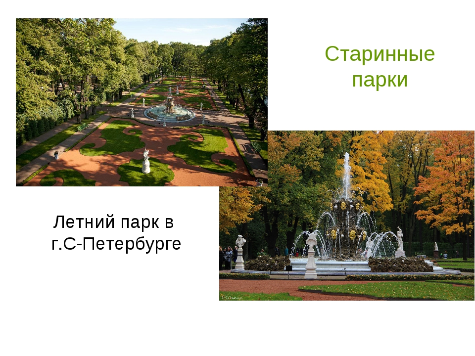 Старинные парки Летний парк в г.С-Петербурге