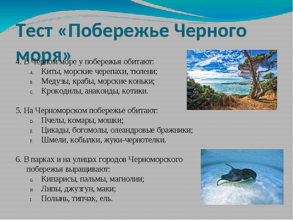 Тест «Побережье Черного моря» 4. В Черном море у побережья обитают: Киты, мор...