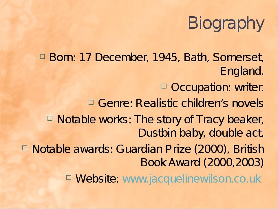 Biography Born: 17 December, 1945, Bath, Somerset, England. Occupation: write...