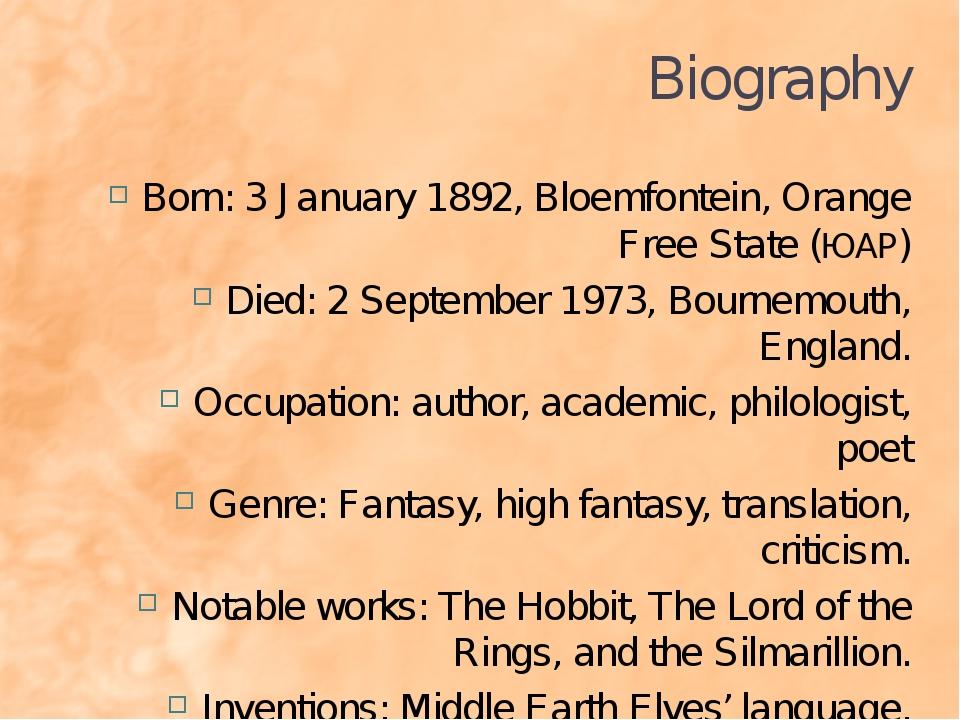 Biography Born: 3 January 1892, Bloemfontein, Orange Free State (ЮАР) Died: 2...