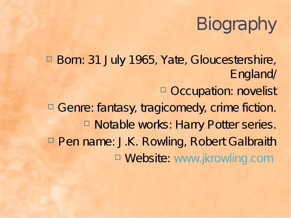 Biography Born: 31 July 1965, Yate, Gloucestershire, England/ Occupation: nov...
