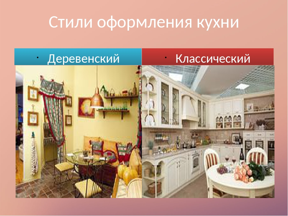 Стили оформления кухни Деревенский Классический