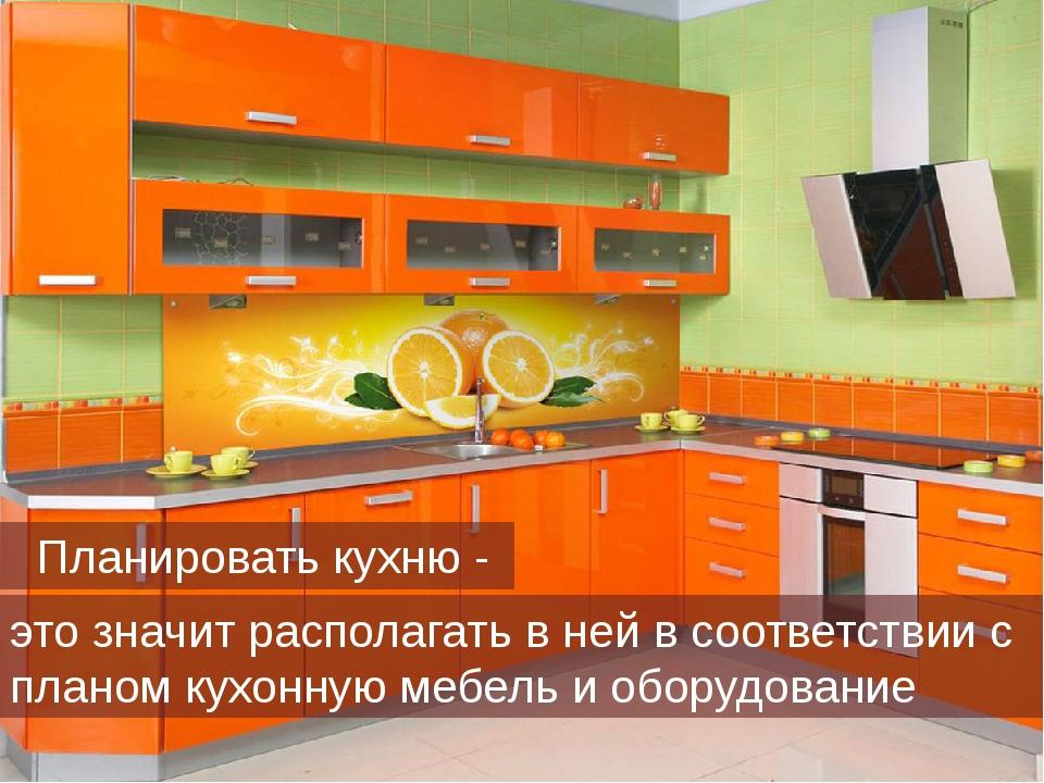 это значит располагать в ней в соответствии с планом кухонную мебель и оборуд...