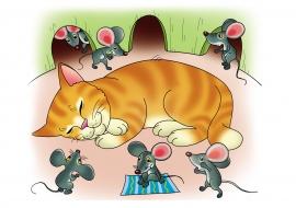 Картинки кот и мышь для детей, днем рождения