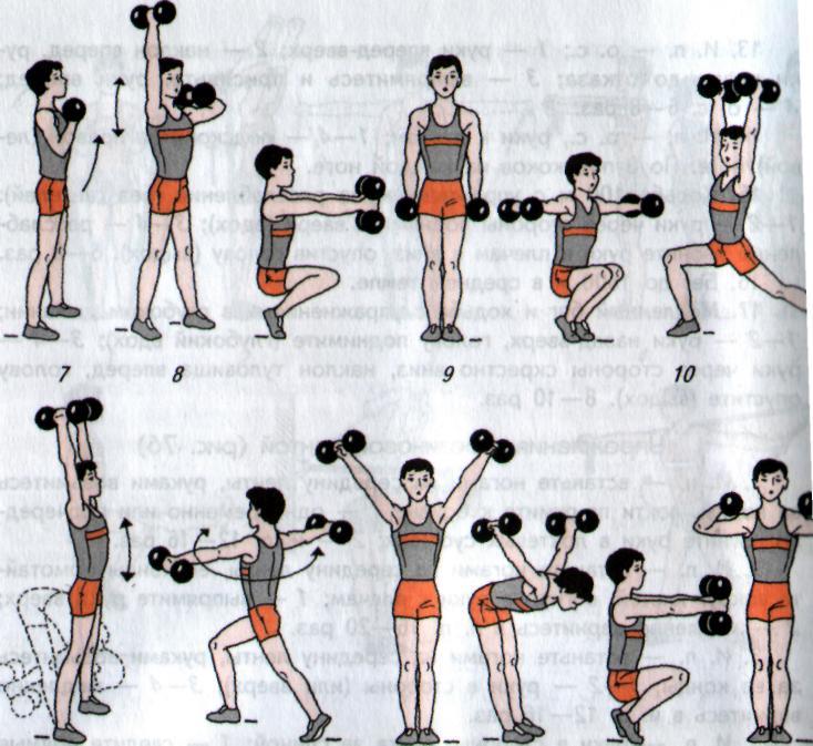 остальные картинки с упражнениями на руки с гантелями опущенном