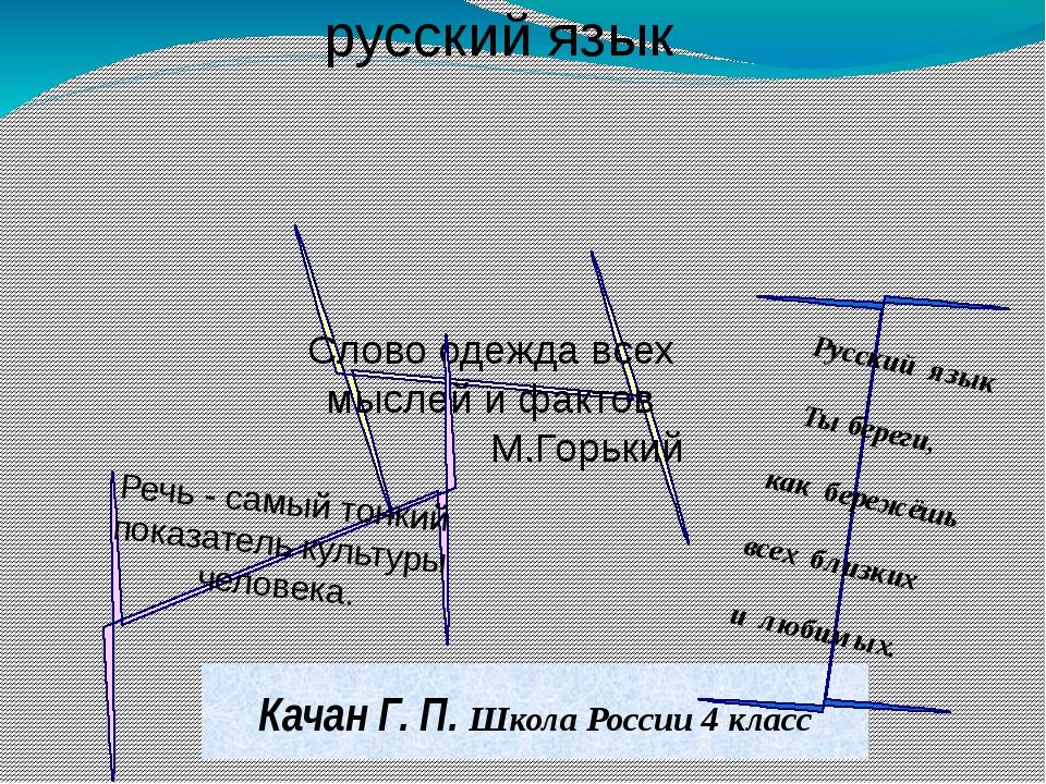 Качан Г. П. Школа России 4 класс Слово одежда всех мыслей и фактов М.Горький...