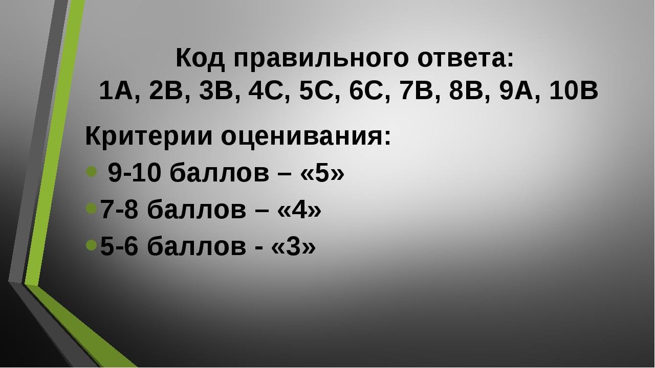 Код правильного ответа: 1А, 2В, 3В, 4С, 5С, 6С, 7В, 8В, 9А, 10В Критерии оцен...