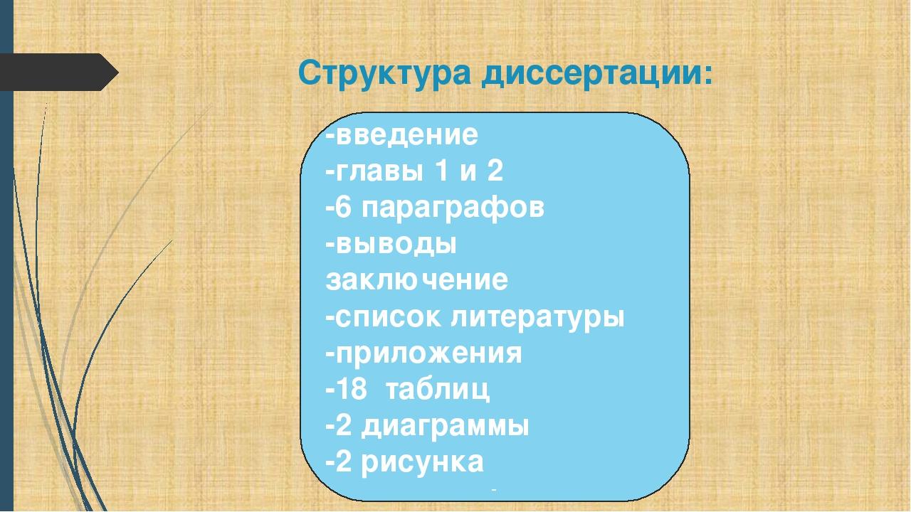 Структура диссертации: -введение -главы 1 и 2 -6 параграфов -выводы заключени...