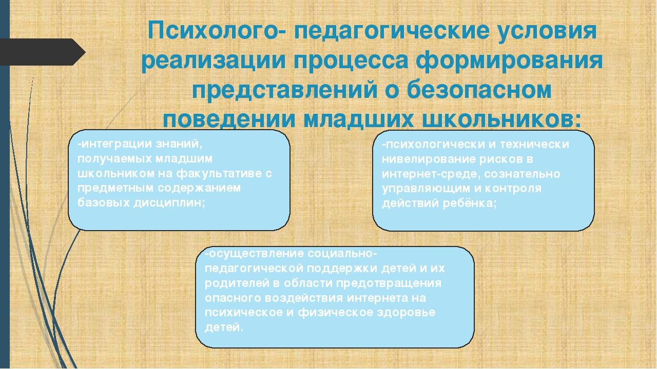 Психолого- педагогические условия реализации процесса формирования представле...