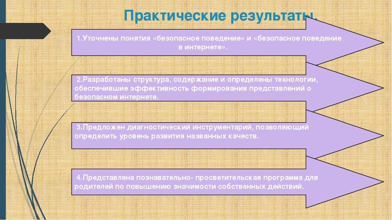 Практические результаты. 1.Уточнены понятия «безопасное поведение» и «безопас...