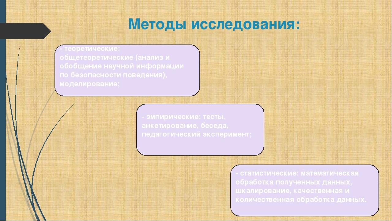 Методы исследования: - эмпирические: тесты, анкетирование, беседа, педагогиче...