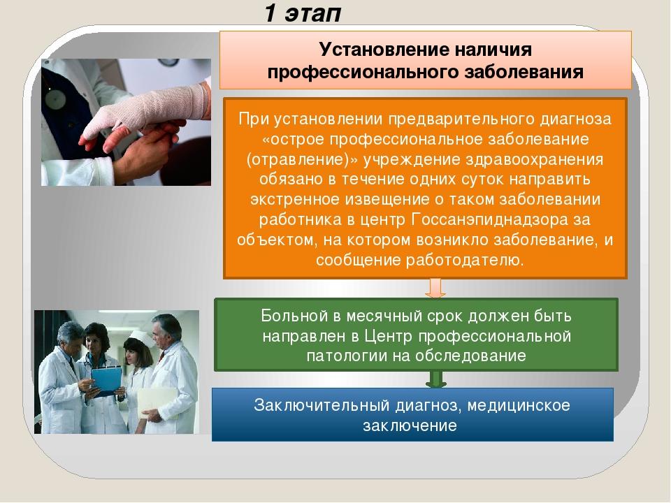 1 этап Установление наличия профессионального заболевания При установлении пр...