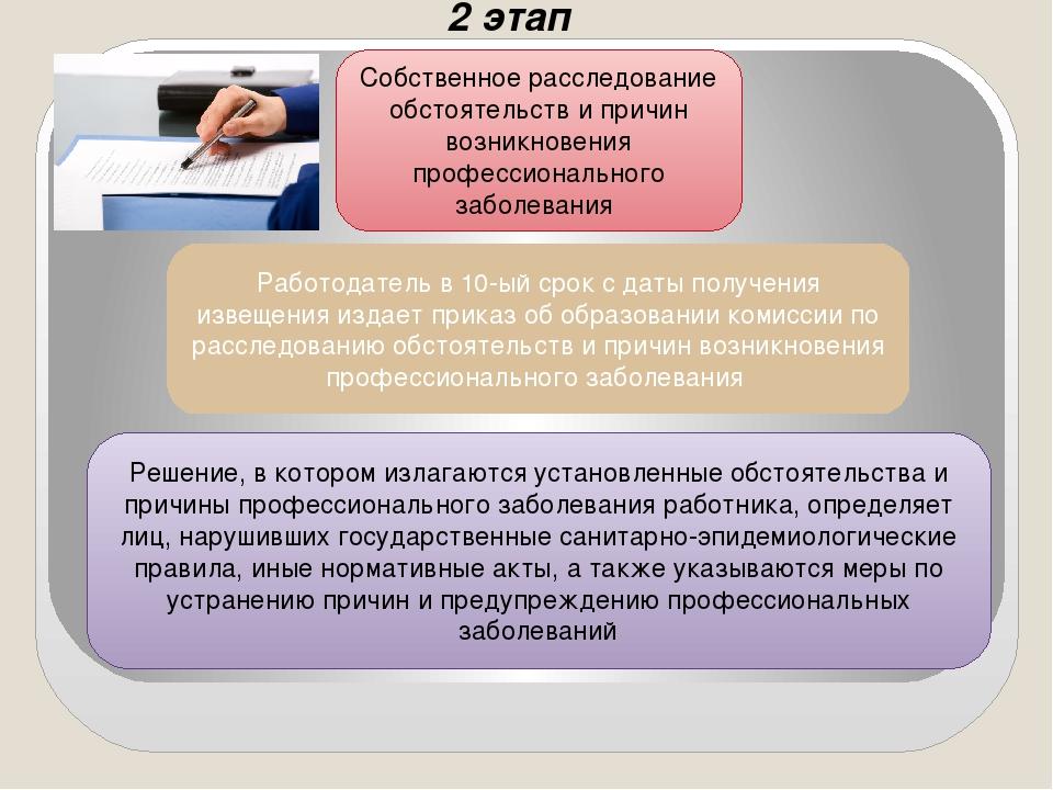 2 этап Собственное расследование обстоятельств и причин возникновения професс...