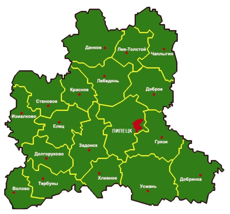 липецкая область на карте россии продаж