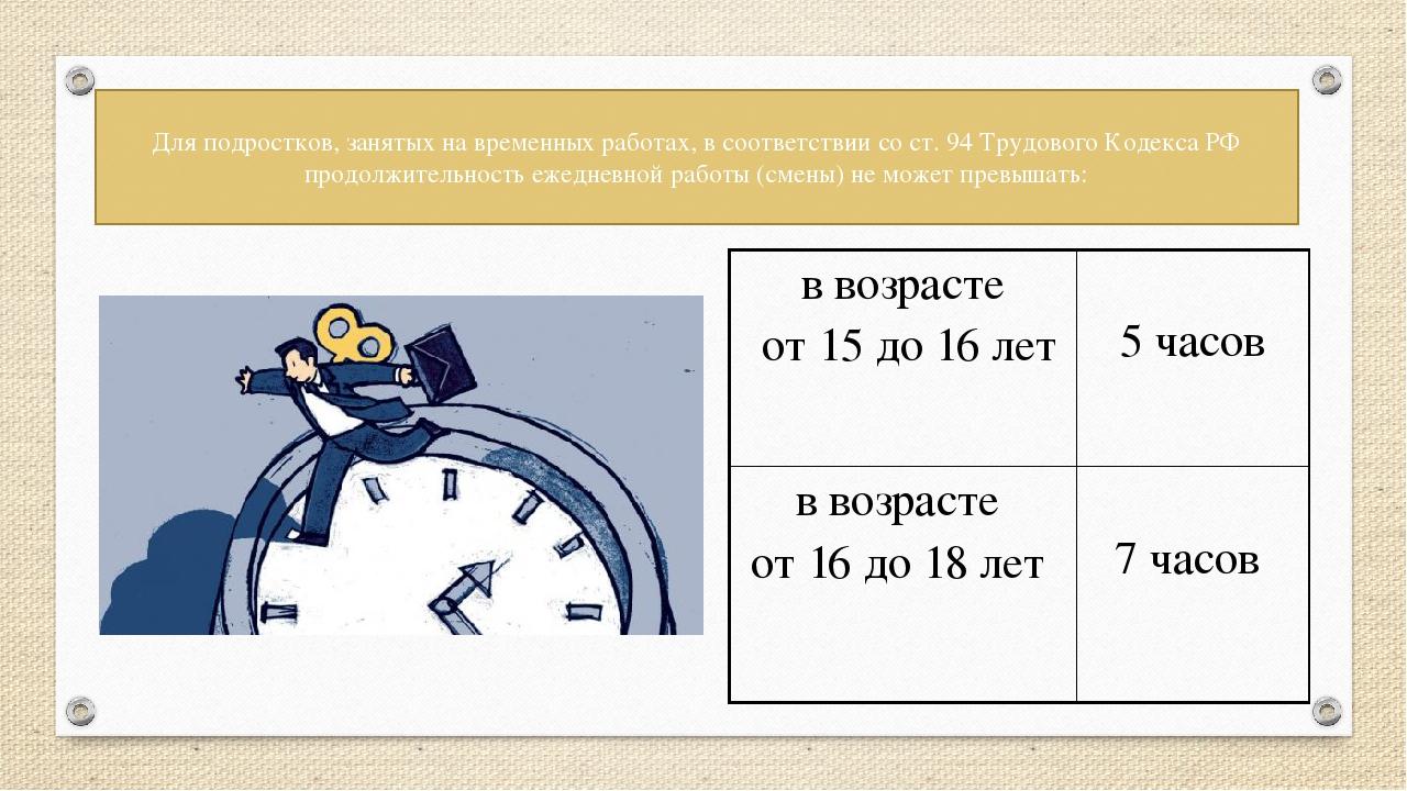 Для подростков, занятых на временных работах, в соответствии со ст. 94 Трудов...