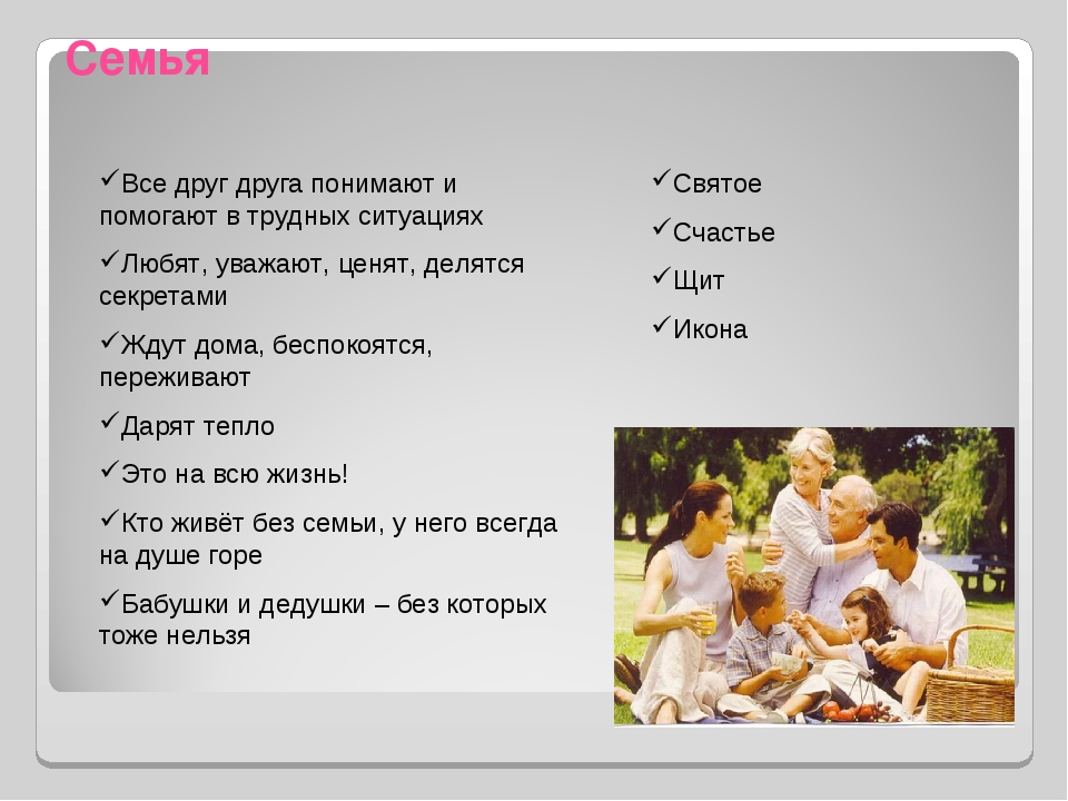 Семья Все друг друга понимают и помогают в трудных ситуациях Любят, уважают,...