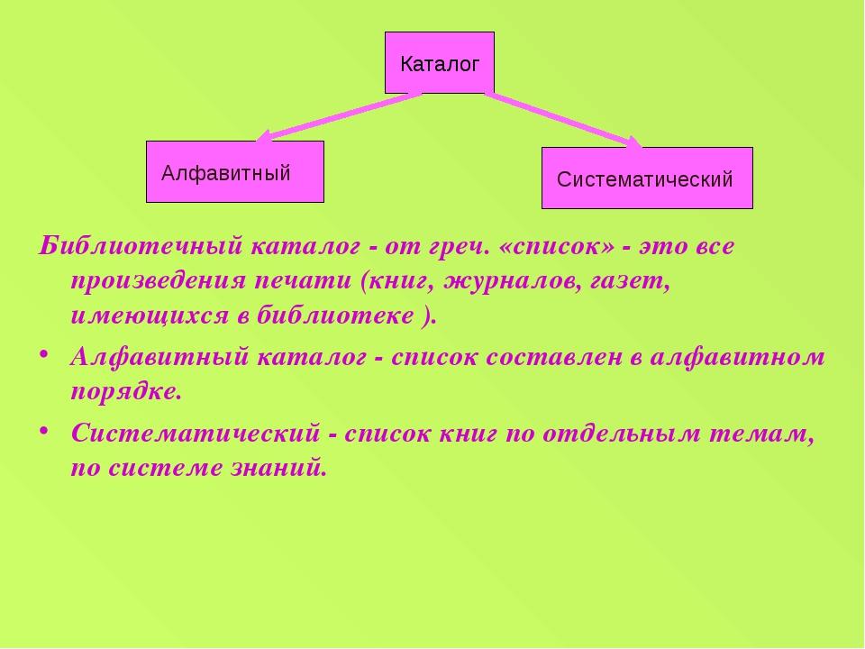 Библиотечный каталог - от греч. «список» - это все произведения печати (книг,...