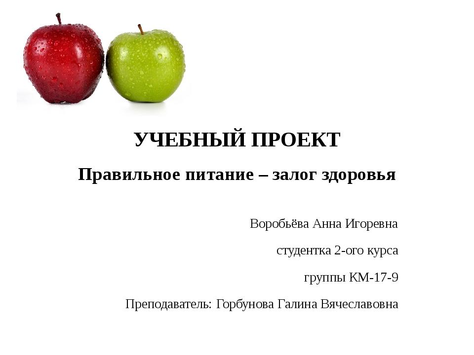 УЧЕБНЫЙ ПРОЕКТ Правильное питание – залог здоровья Воробьёва Анна Игоревна ст...