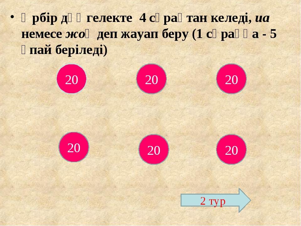 Әрбір дөңгелекте 4 сұрақтан келеді, иа немесе жоқ деп жауап беру (1 сұраққа -...