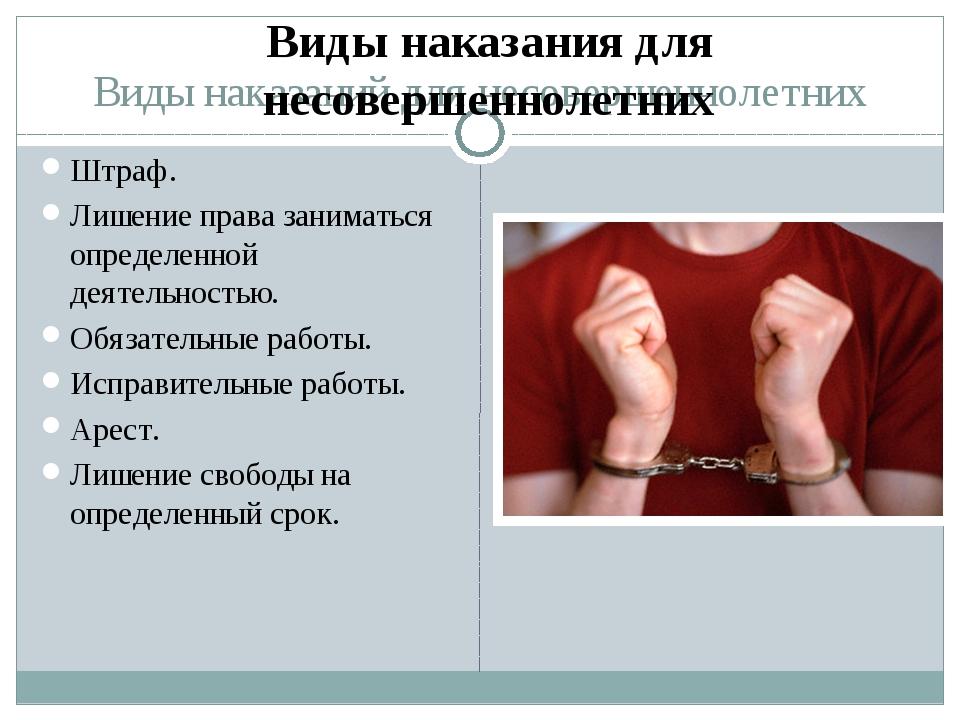 Виды наказаний для несовершеннолетних Штраф. Лишение права заниматься определ...