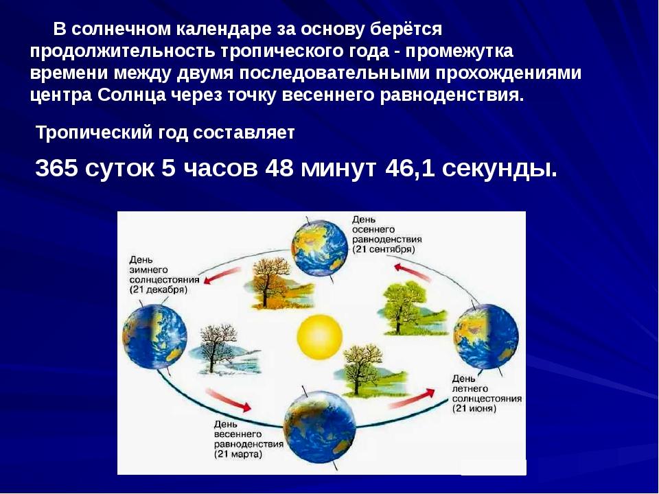 В солнечном календаре за основу берётся продолжительность тропического года...