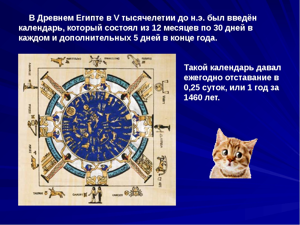 В Древнем Египте в V тысячелетии до н.э. был введён календарь, который состо...
