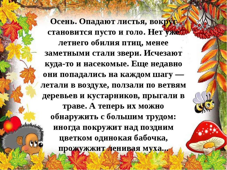 Осень. Опадают листья, вокруг становится пусто и голо. Нет уже летнего обилия...