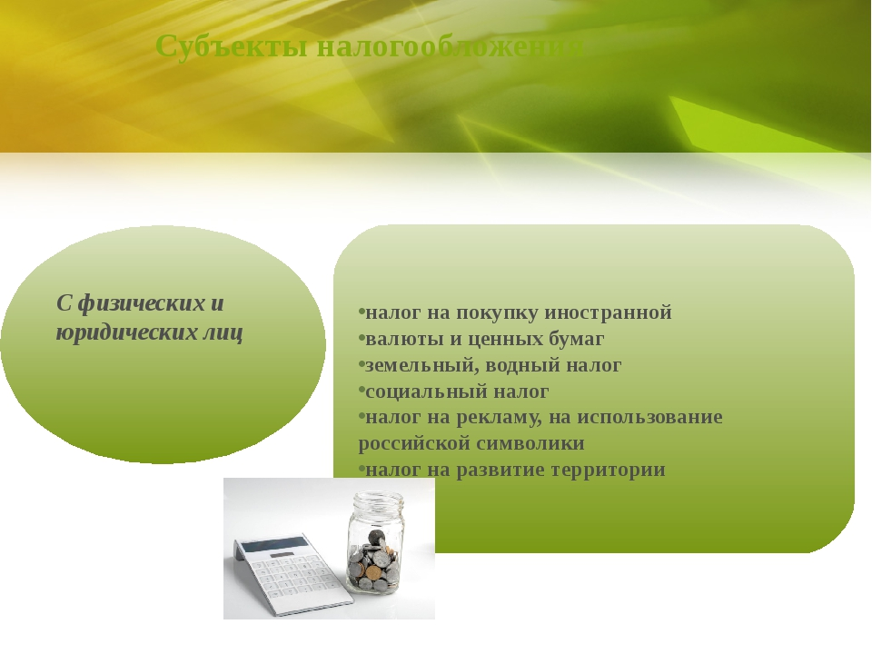 Субъекты налогообложения С физических и юридических лиц налог на покупку инос...
