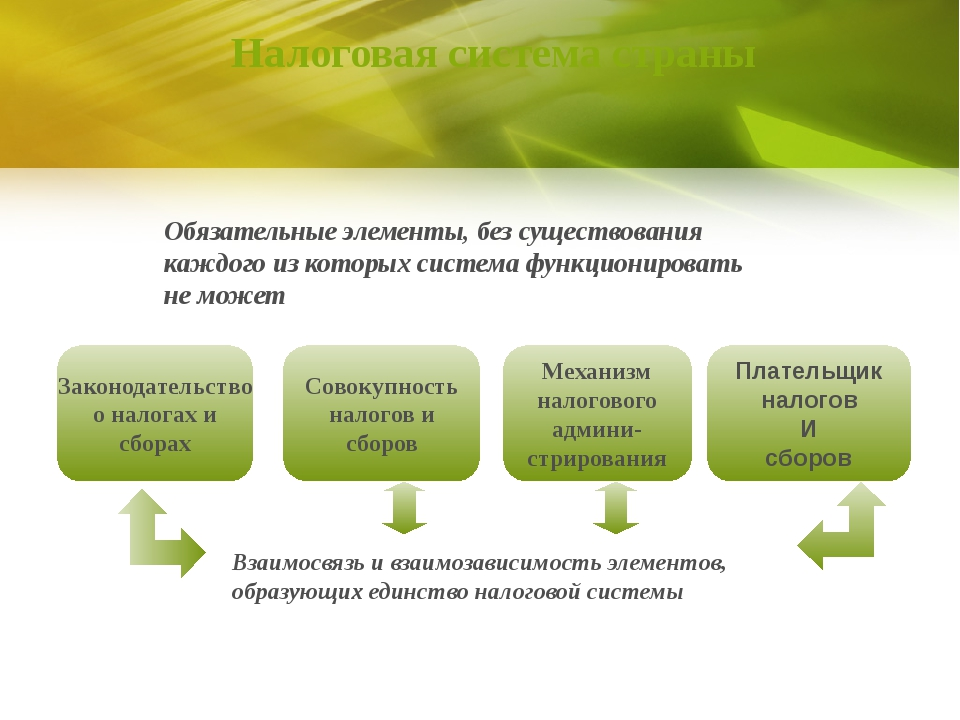 Налоговая система страны Плательщик налогов И сборов Законодательство о налог...