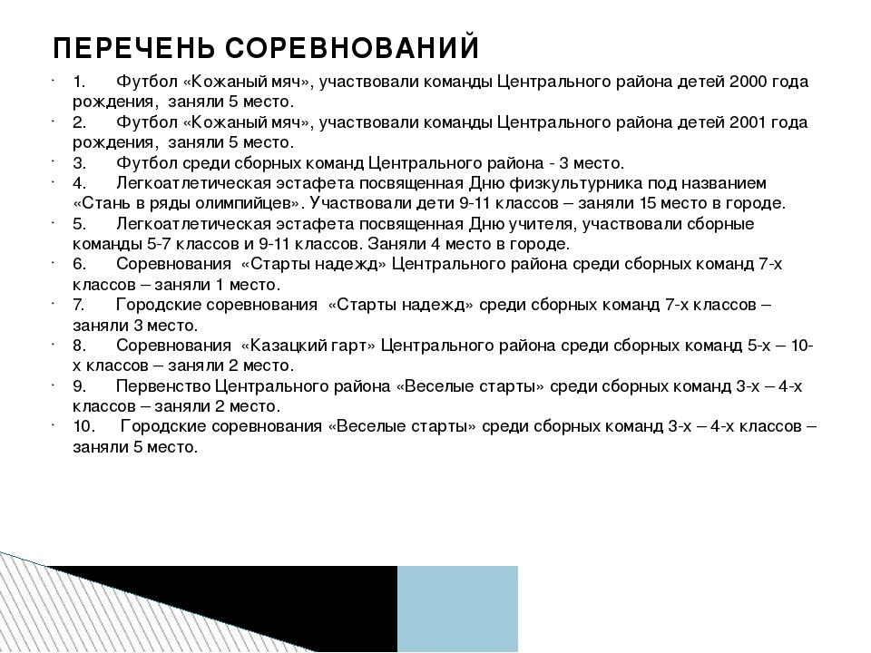 1.Футбол «Кожаный мяч», участвовали команды Центрального района детей 2000 г...