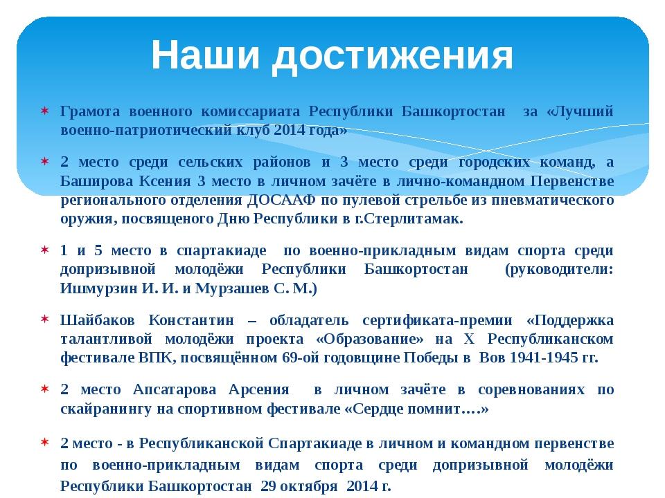 Грамота военного комиссариата Республики Башкортостан за «Лучший военно-патри...