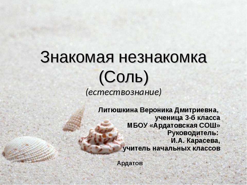 Знакомая незнакомка (Соль) (естествознание) Литюшкина Вероника Дмитриевна, уч...