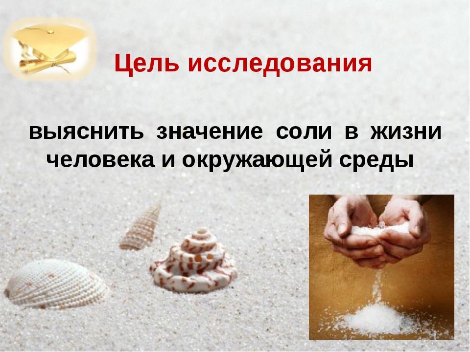 Цель исследования выяснить значение соли в жизни человека и окружающей среды