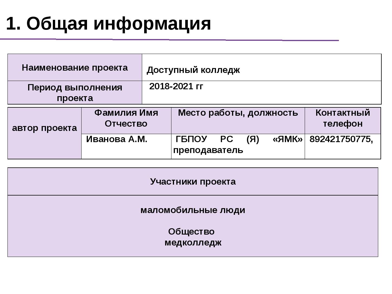 1. Общая информация Наименование проекта Доступный колледж Период выполнени...
