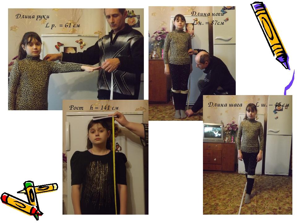 Длина руки L р. = 61 см Длина ноги L н. = 87см Рост h = 141 cм Длина шага L...