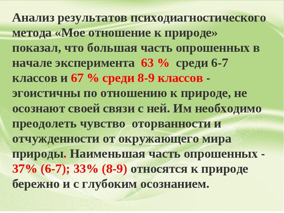 Анализ результатов психодиагностического метода «Мое отношение к природе» пок...