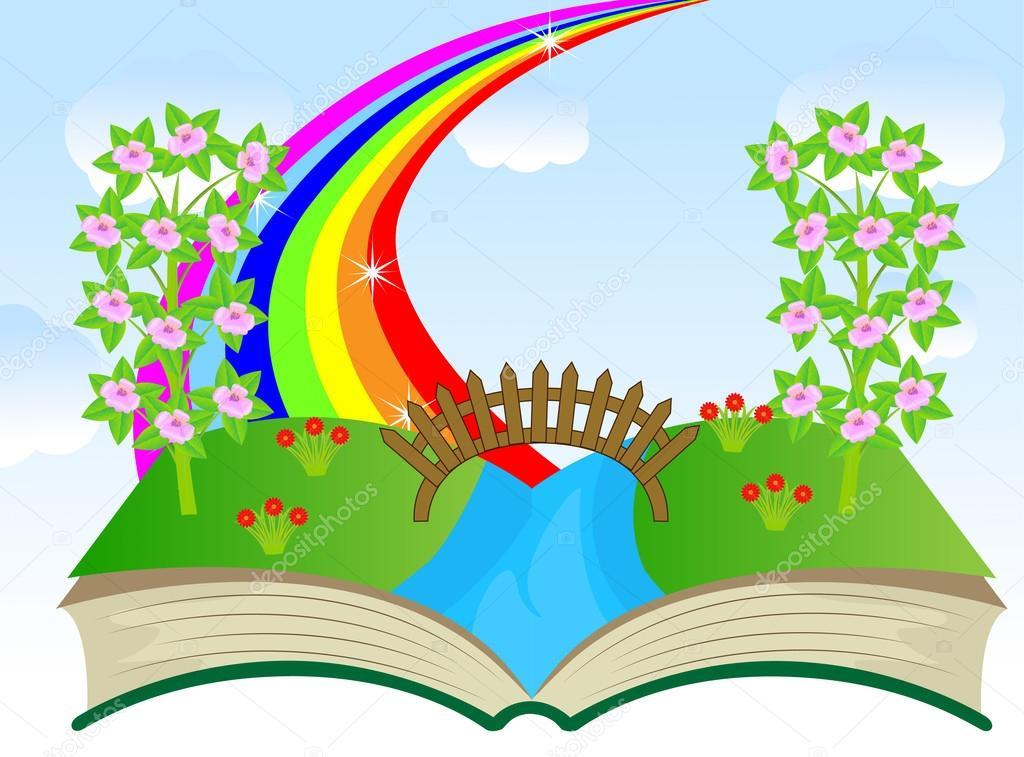 Здесь, картинки книга и цветы и радуга