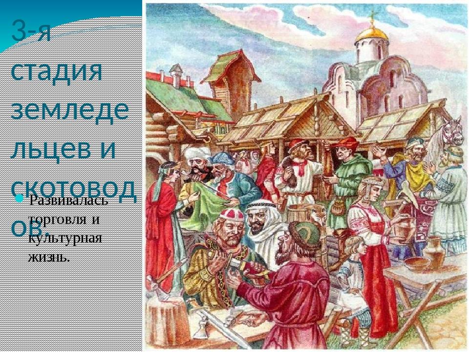 3-я стадия земледельцев и скотоводов. Развивалась торговля и культурная жизнь.