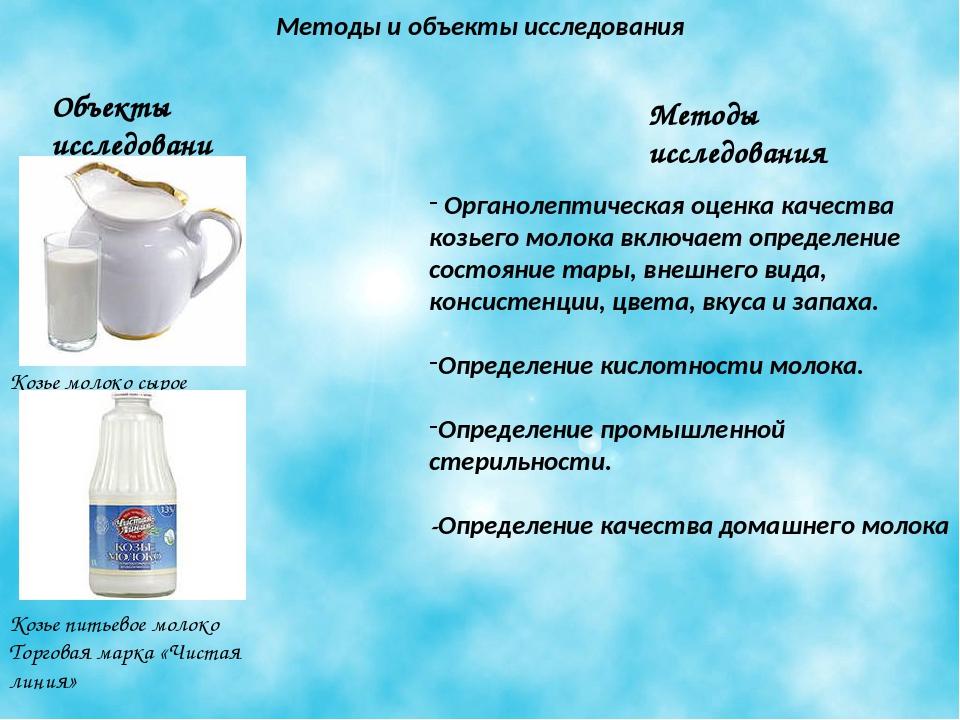 Методы и объекты исследования Объекты исследования Методы исследования Козье...