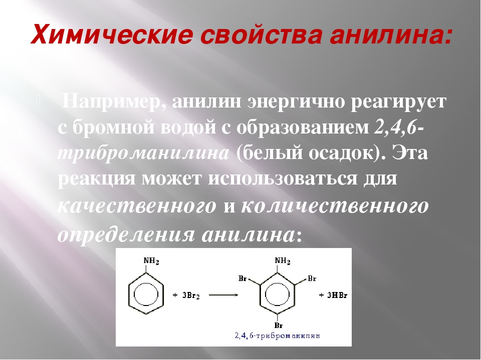 Химические свойства анилина: Например, анилин энергично реагирует с бромной в...
