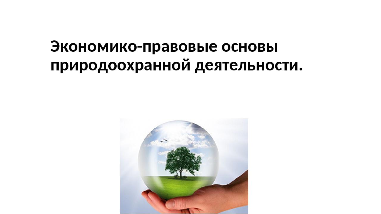 Экономико-правовые основы природоохранной деятельности.